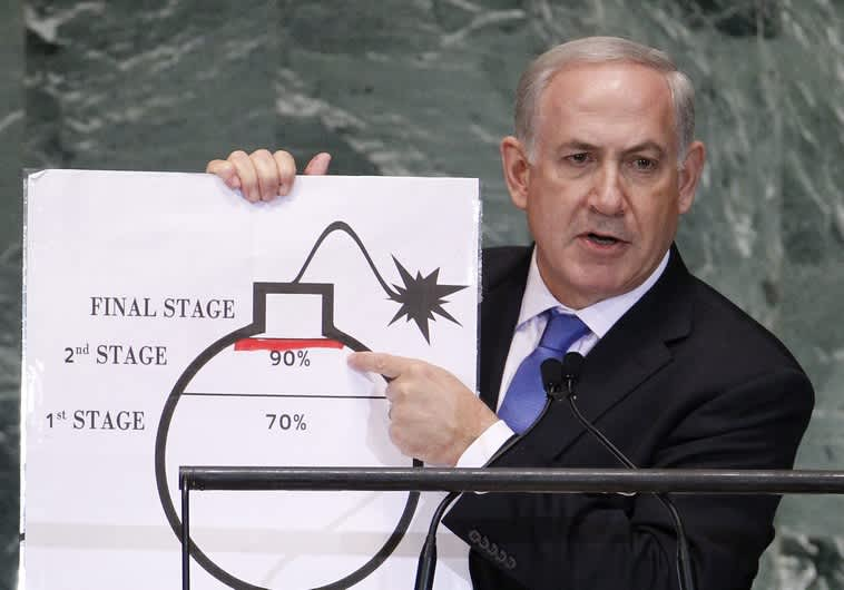 Netanyahu warns against nuclear Iran at 2012 UN General Assembly. (Reuters)