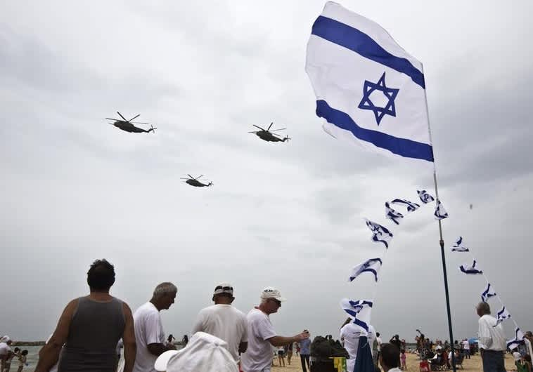 Israeli Air Force planes fly over Tel Aviv Beach