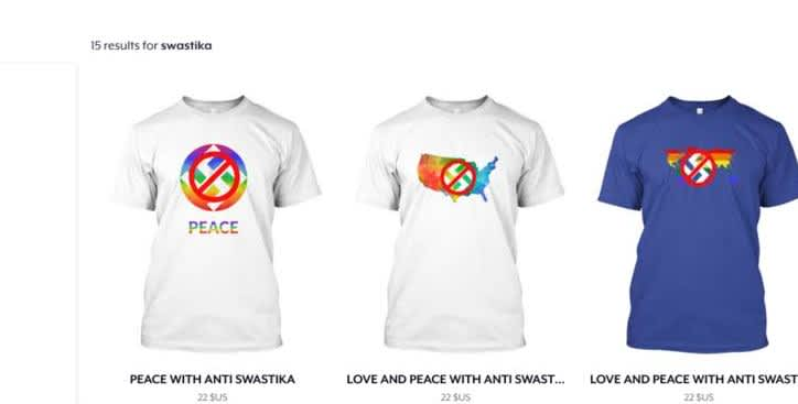 Screenshot of the new items from Teespring.com.