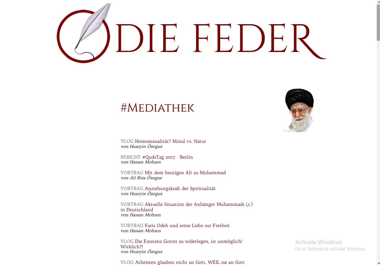 Screenshot of the home page of The Feather's website.