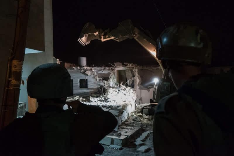 IDF demolition of terrorists' homes, August 9, 2017. (IDF Spokesperson's Unit)