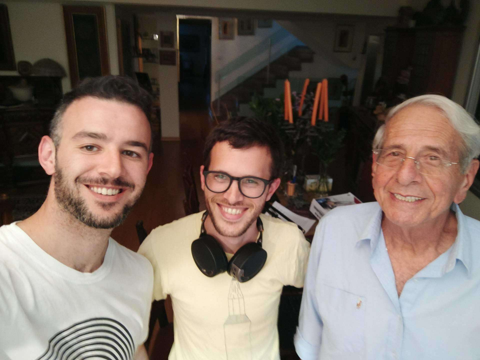 The legendary Chaim Topol, Weinstein and Meningher in the studio. (Credit: Courtesy)