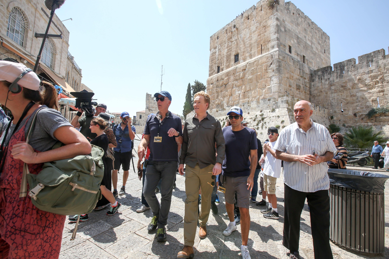 Conan O'Brien by Jaffa Gate, Jerusalem (MARC ISRAEL SELLEM/THE JERUSALEM POST)