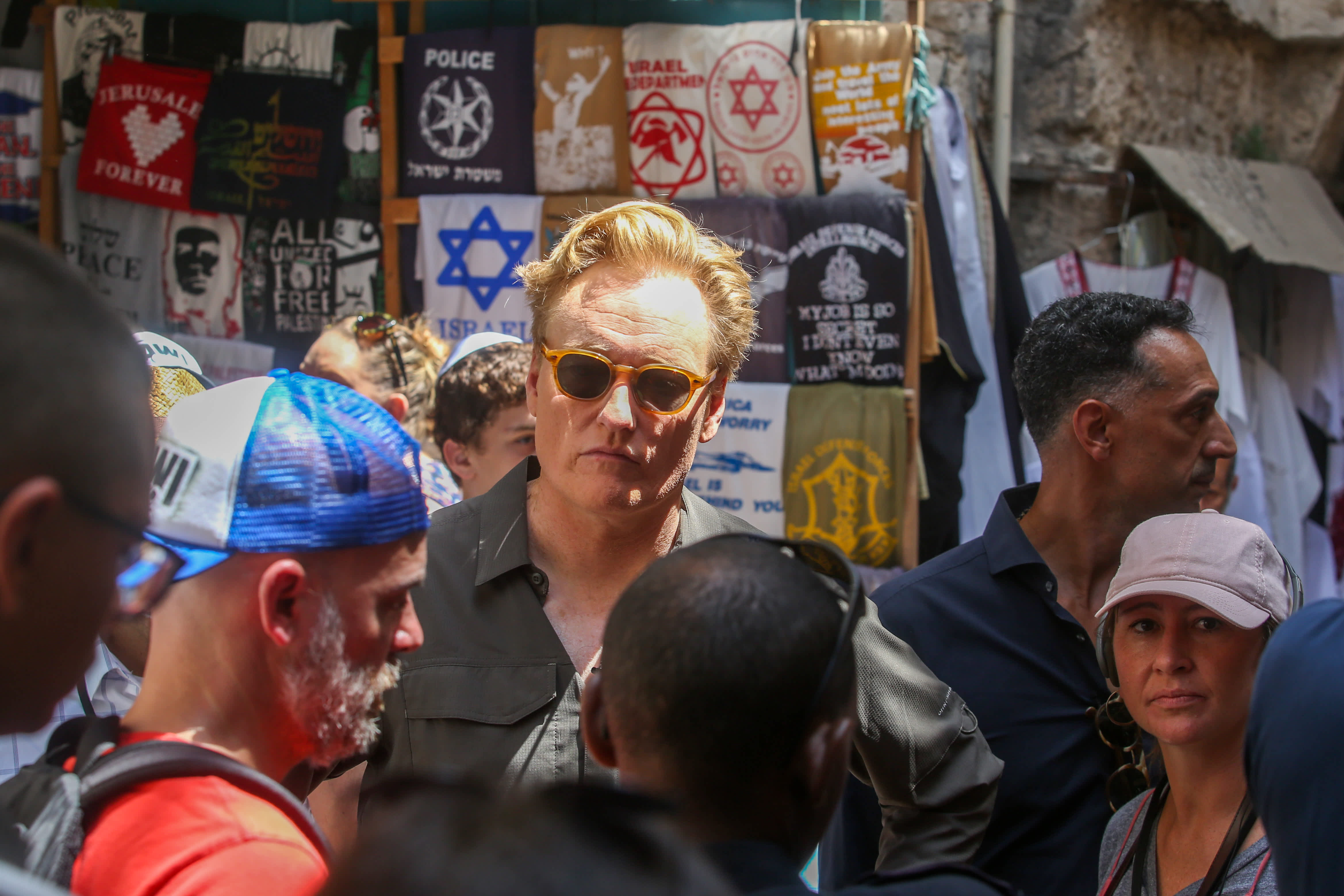 Conan O'Brien in the Old City of Jerusalm (MARC ISRAEL SELLEM/THE JERUSALEM POST)