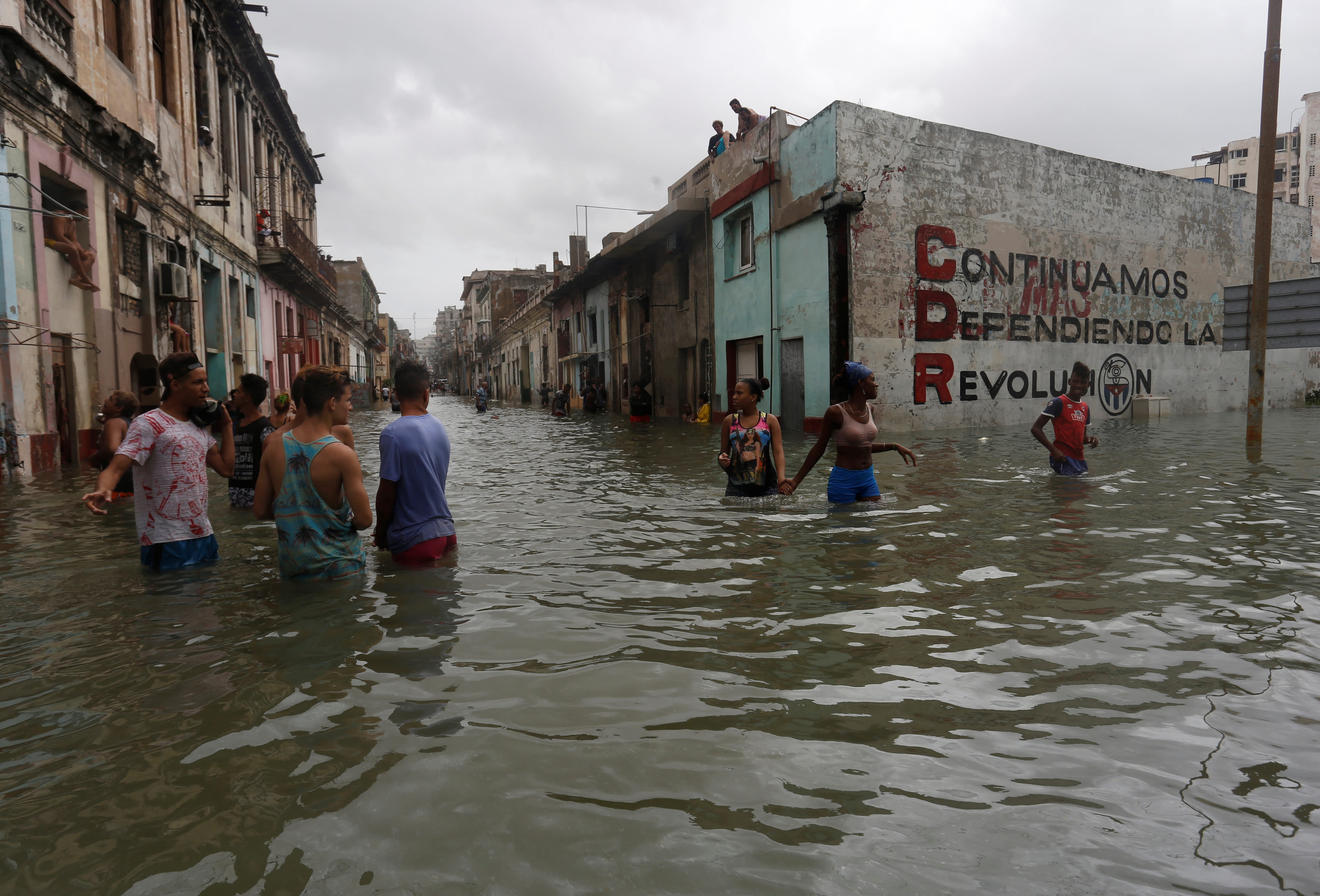 People wade through a flooded street, after the passing of Hurricane Irma, in Havana, Cuba. (Stringer/ Reuters)