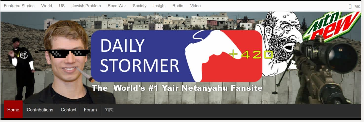 Daily Stormer banner featuring Yair Netanyahu/ Screenshot
