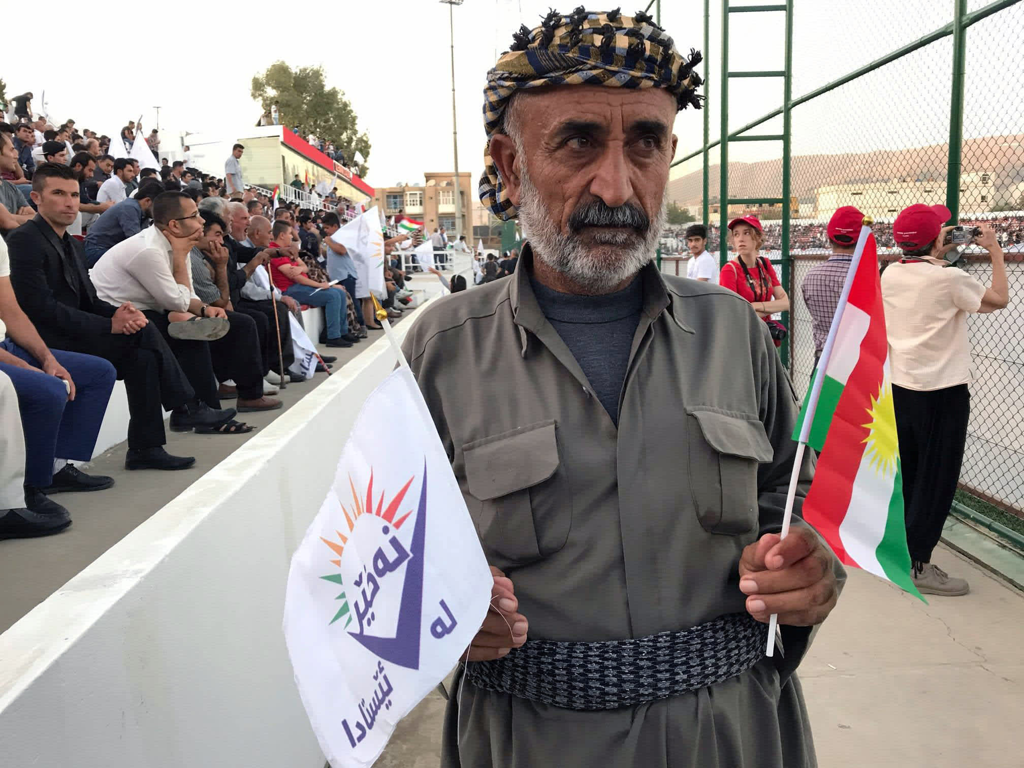 """A supporter of the """"NO For Now"""" movement attends a rally calling on Iraqi Kurds to vote against the referendum, in Sulaimaniyah, Iraq  REUTERS/RAYA JALABI"""
