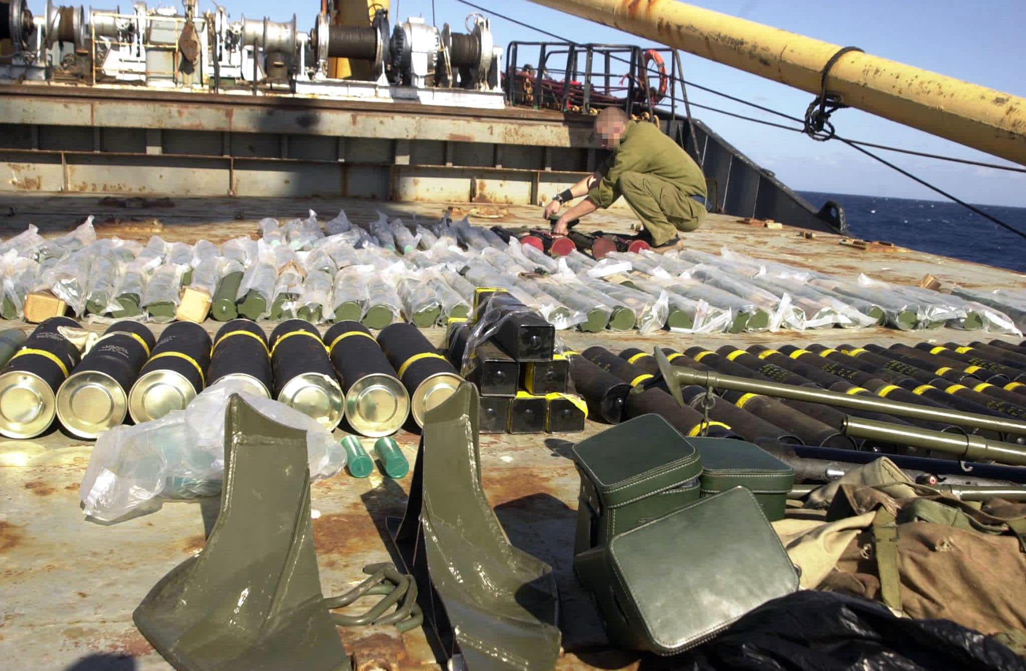 Weapons and explosives found aboard the smuggling ship Karine A, intercepted by the Israeli Navy (IDF / AFP)