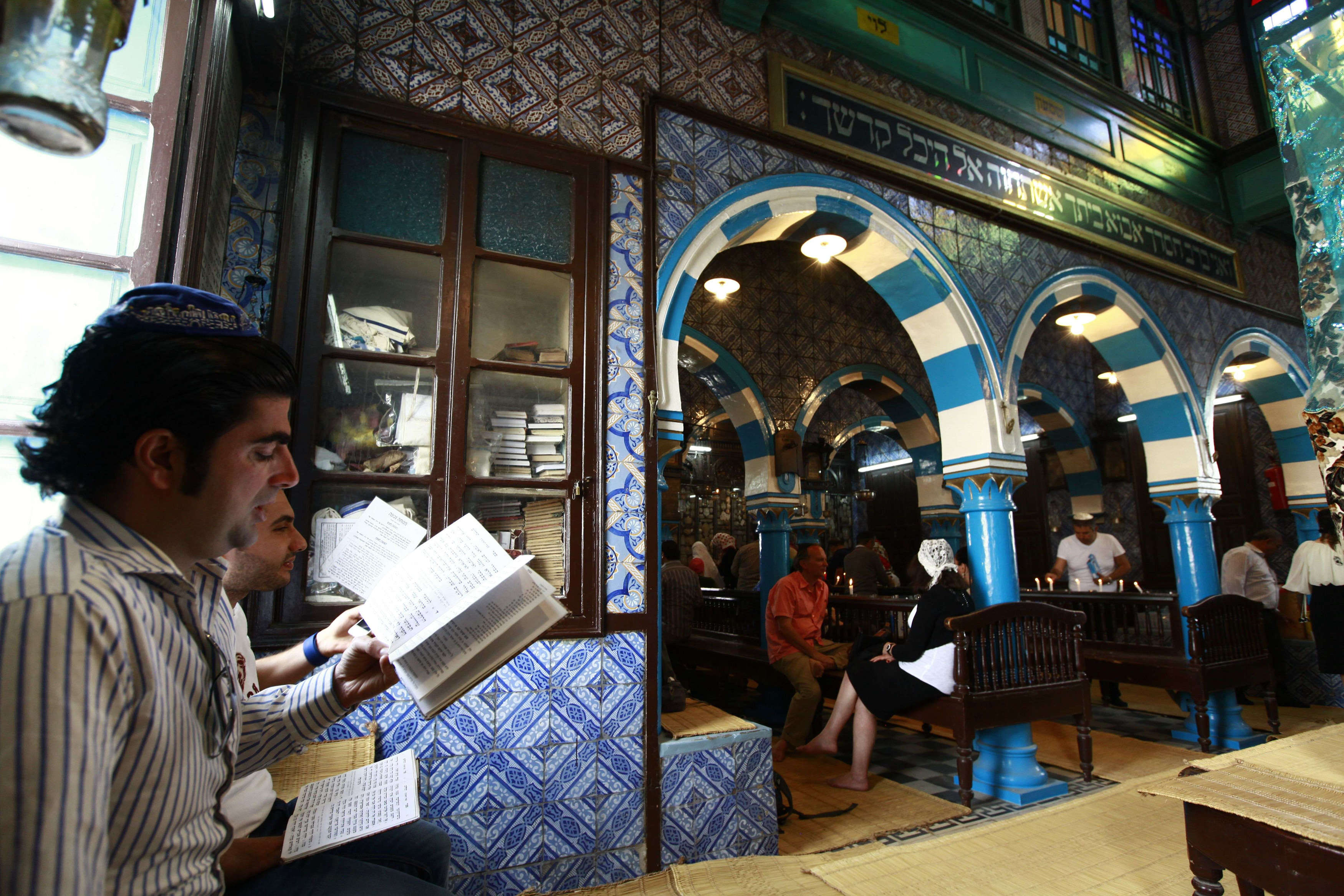 Jewish worshippers pray during a pilgrimage to the El Ghriba synagogue in Djerba, Tunisia (ANIS MILI / REUTERS)