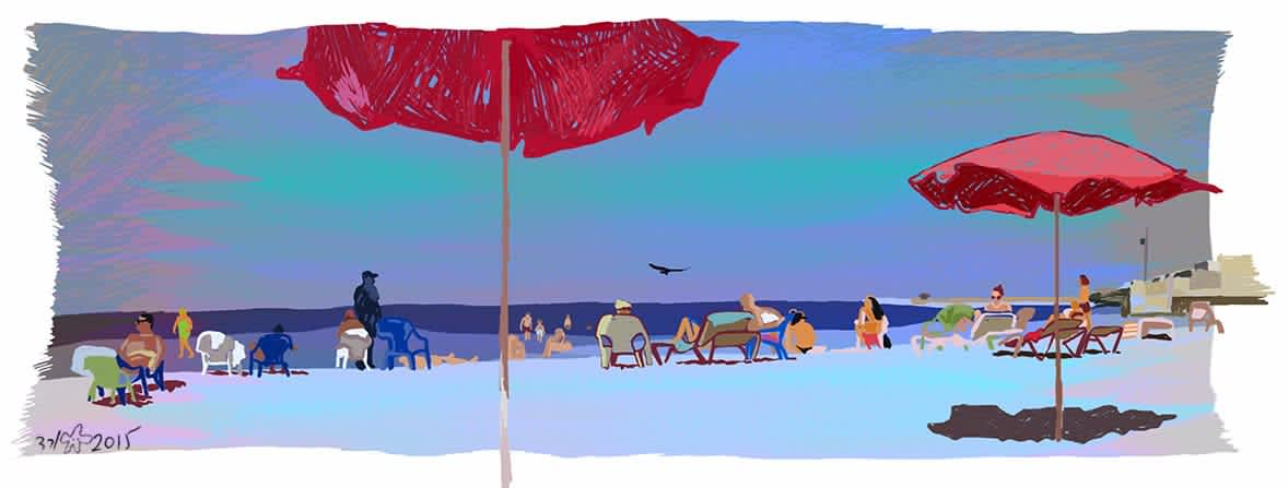 'Metzitzim Beach,' digital illustration. (VERED GANCHROW)