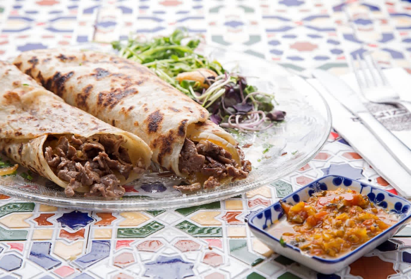 Savory moufleta crepes stuffed with chopped steak. (DAN LEV)