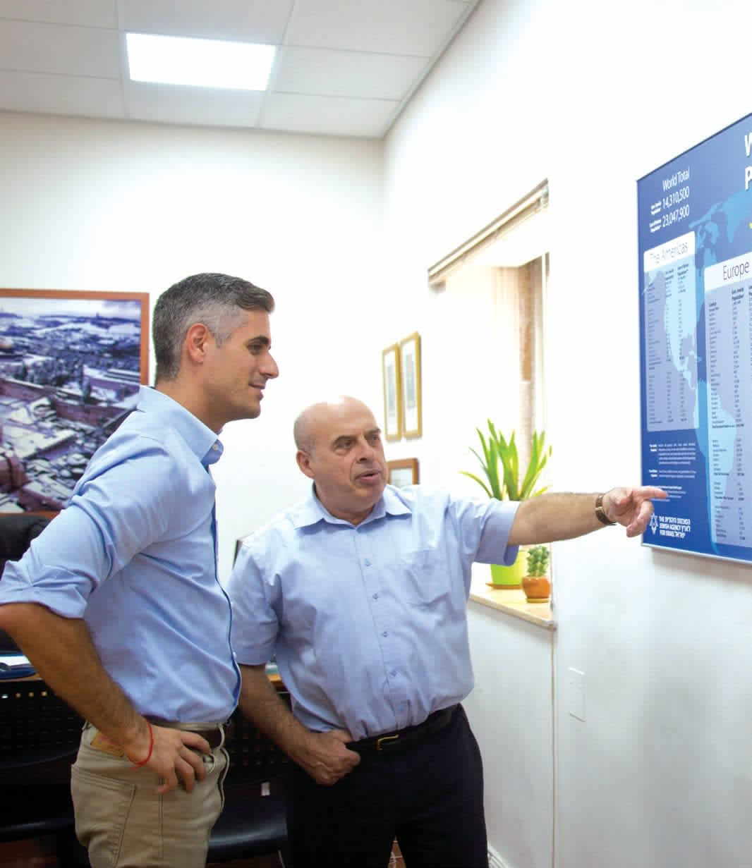 AVI MAYER (left) is the spokesman for the Jewish Agency and its chairman Natan Sharansky. Mayer made aliya at age five from New York. (Sarah Levi)