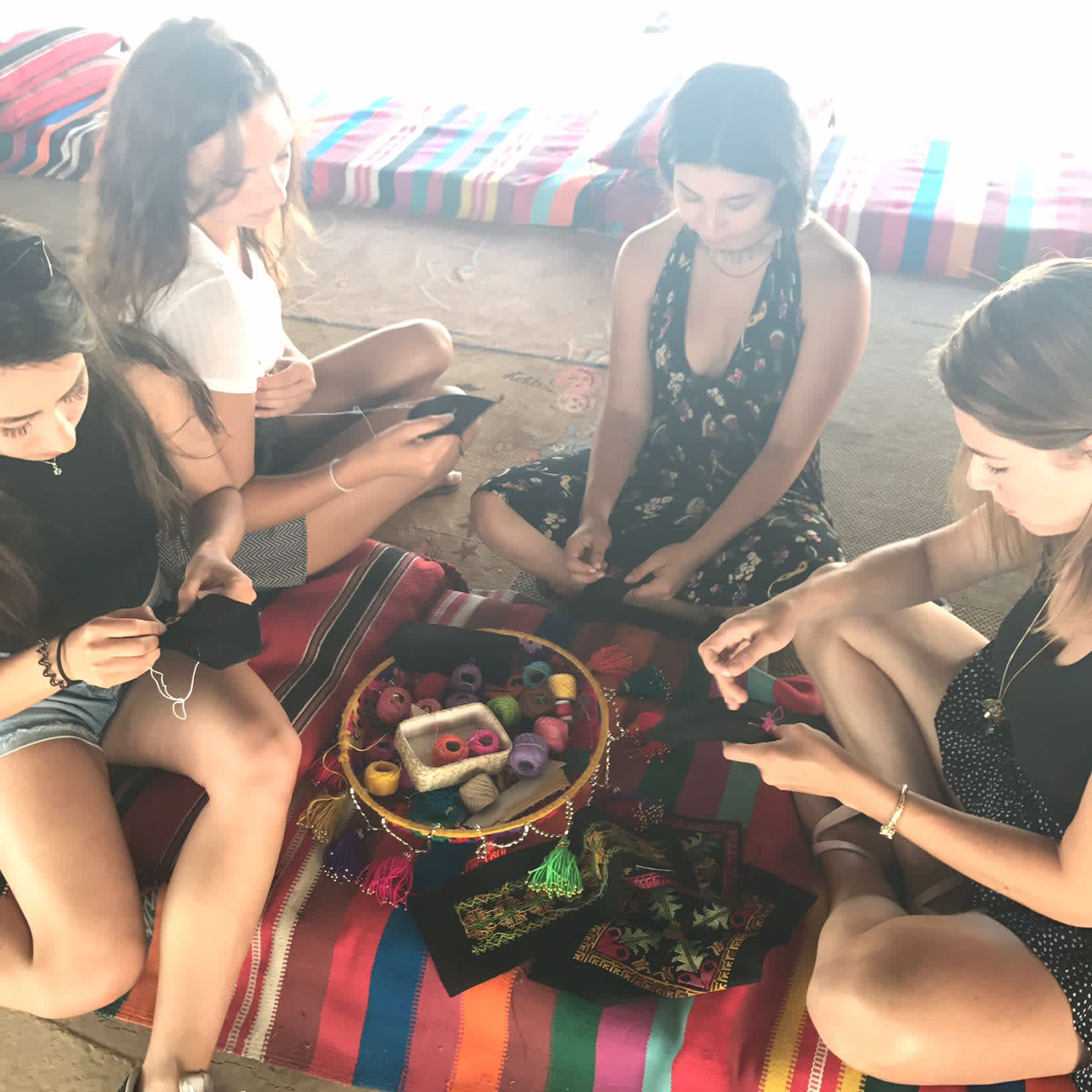 Fashionating Israel participants at an embroidery workshop (Courtesy)