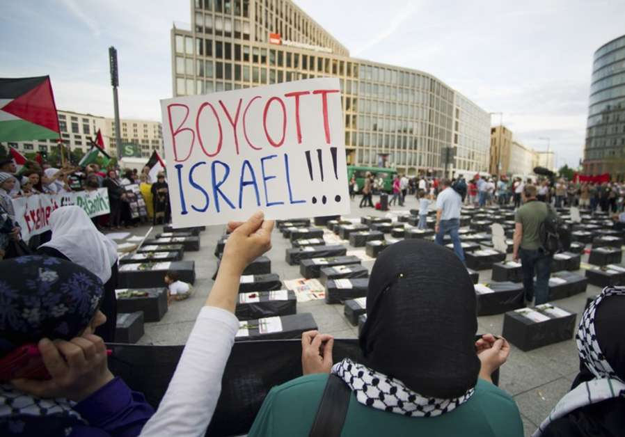 Protesters call for boycott of Israel [file]. (photo credit:REUTERS)