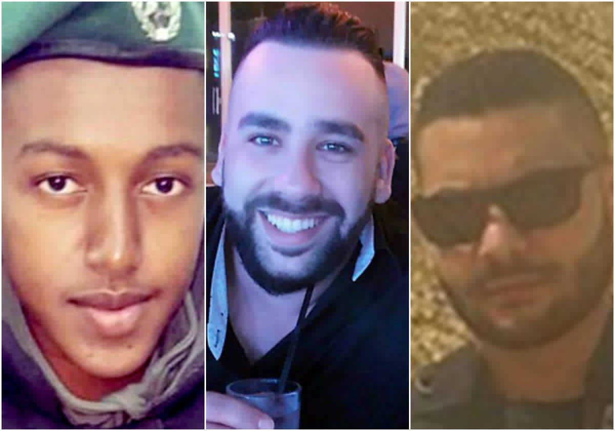 St. Sgt. Solomon Gabaria, Yossef Otman and Or Arish, the victims of the Har Adar West Bank terror shooting, September 26, 2017. (Courtesy Israel Police)