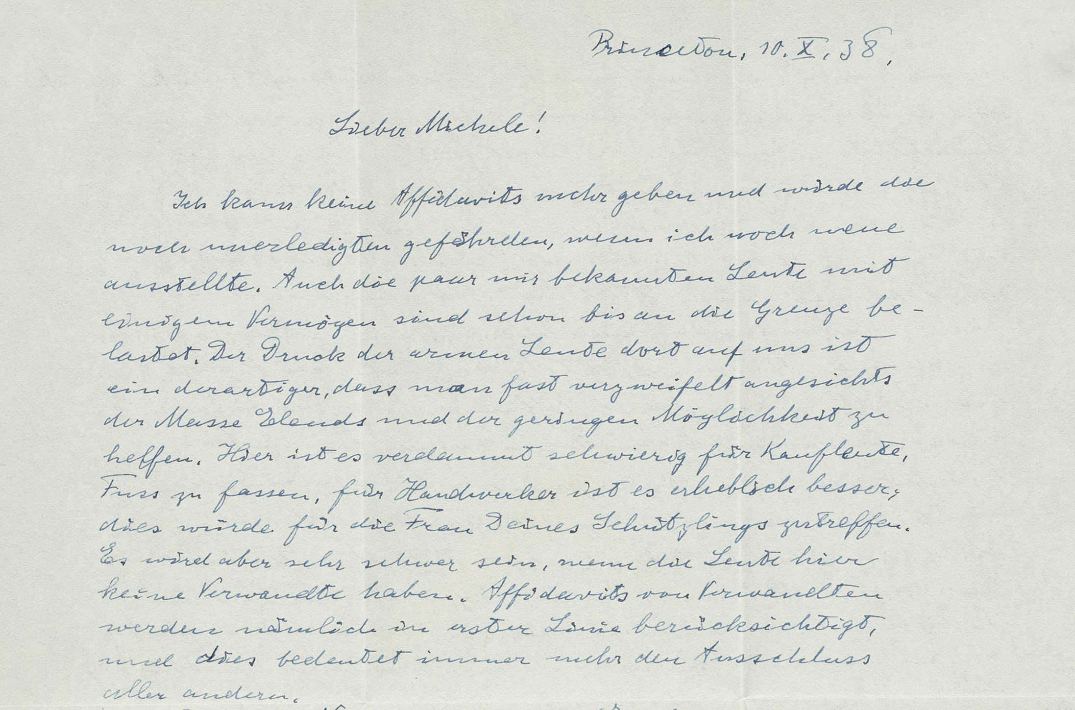A letter written by Albert Einstein on October 10, 1938 featuring his fears for Europe following the 1938 Munich Agreement (Nate D. Sanders Auctions)