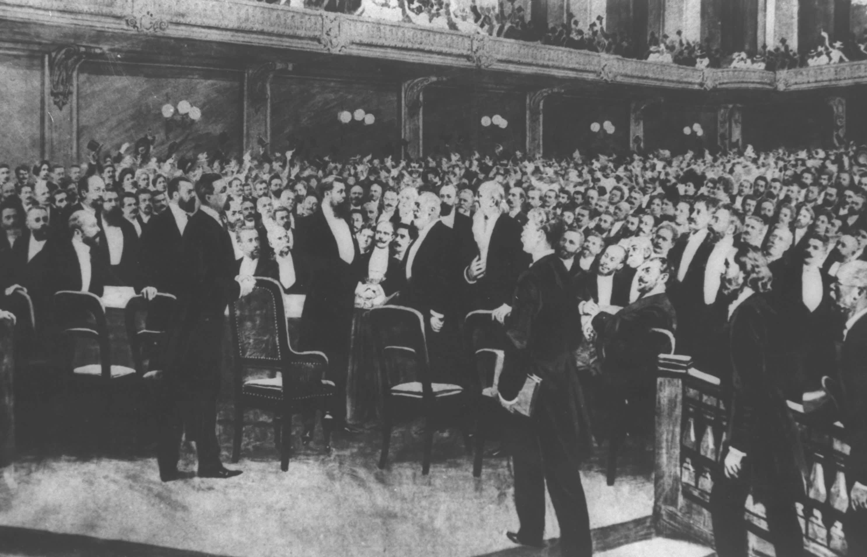 Theodor Herzl at the First Zionist Congress, August 25, 1897 (WIKIMEDIA COMMONS/ISRAEL NATIONAL PHOTO COLLECTION)