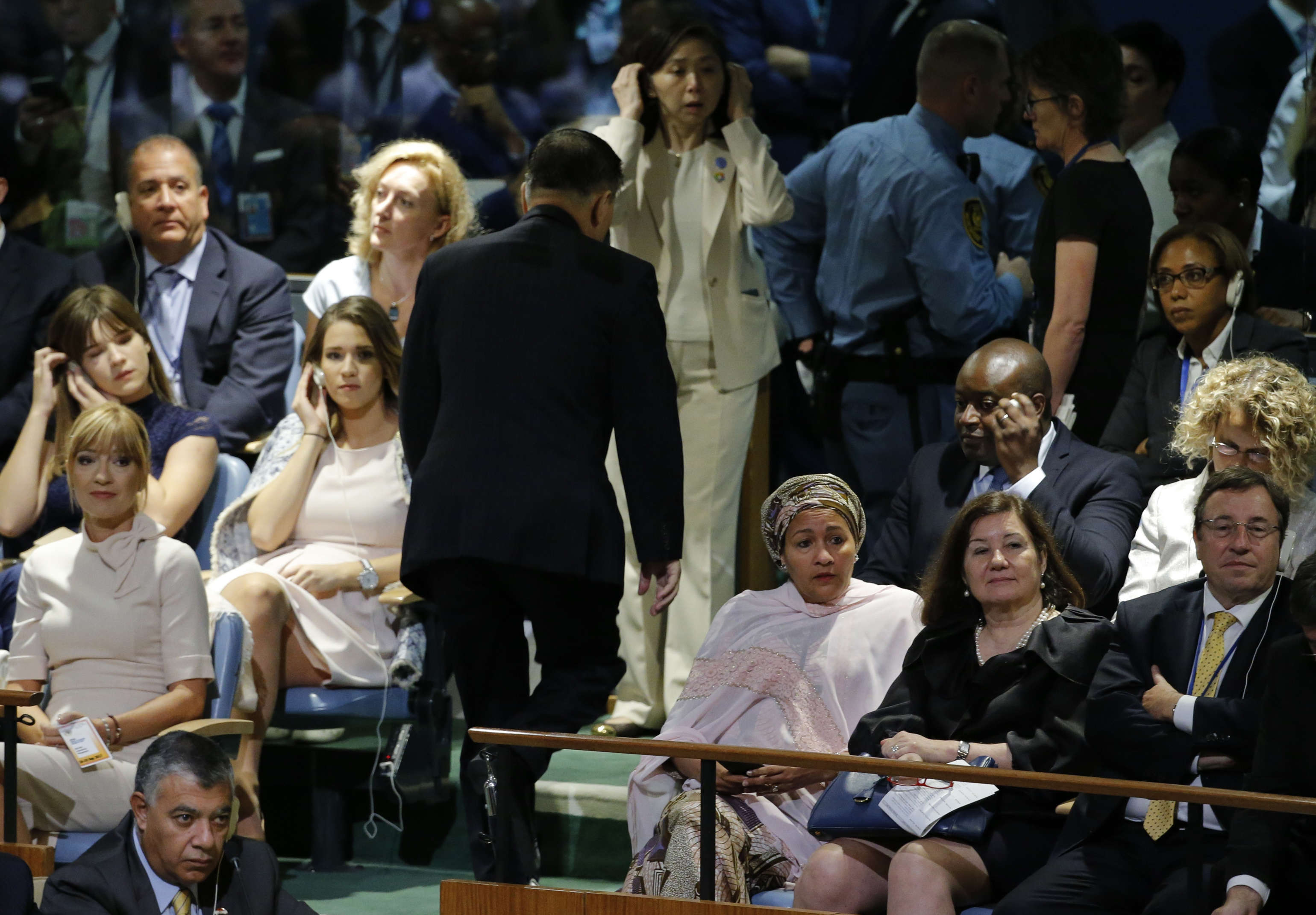 North Korea's Ambassador to the UN, Ja Song Nam, leaves his seat prior to the arrival of US President Donald Trump to address the 72nd United Nations General Assembly at UN Headquarters in New York, US, September 19, 2017. (Reuters)