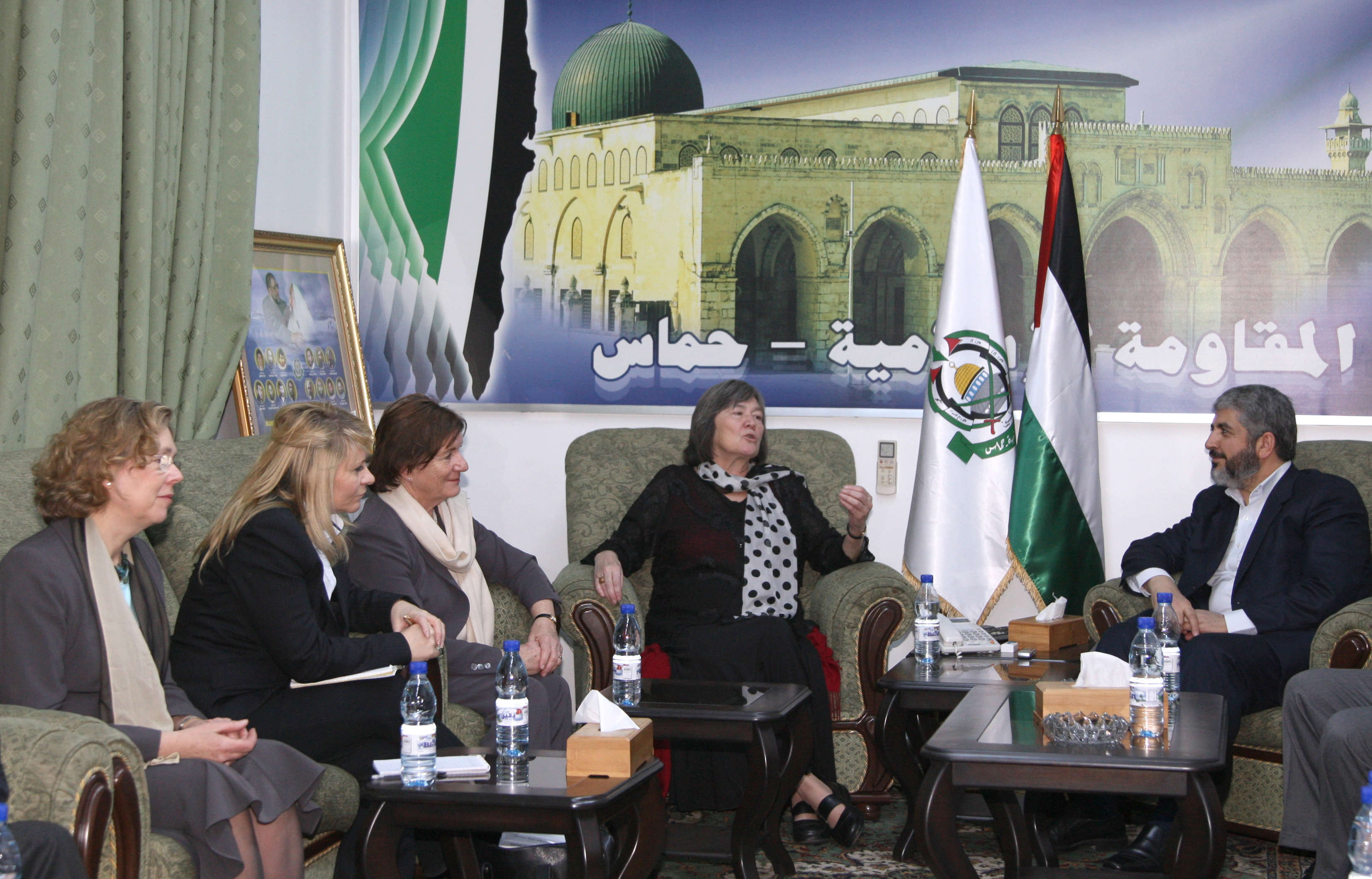 Hamas leader Khaled Meshaal (R) meets British members of parliament including British Baroness Jenny Tonge (3rd L) in Damascus March 14, 2009. (Reuters)
