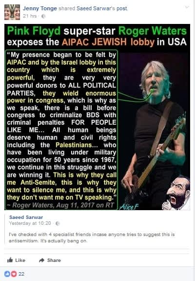 A Facebook post shared by Baroness Jenny Tonge, August 26, 2017 (Facebook)