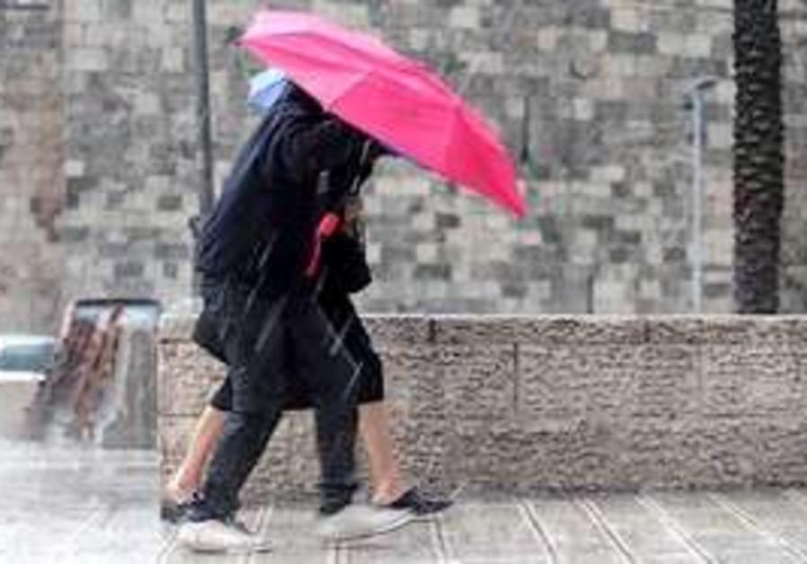 Stormy weather hits Jerusalem Monday.
