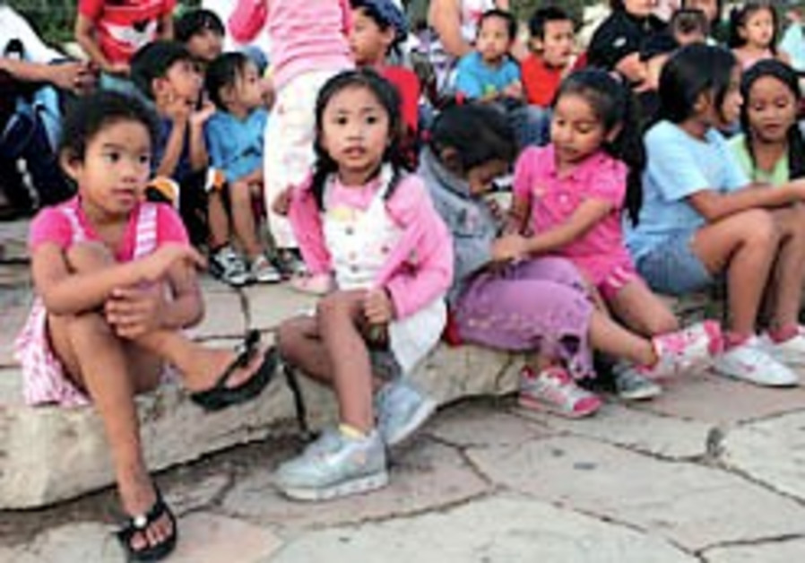 A demo for children of migrant workers.