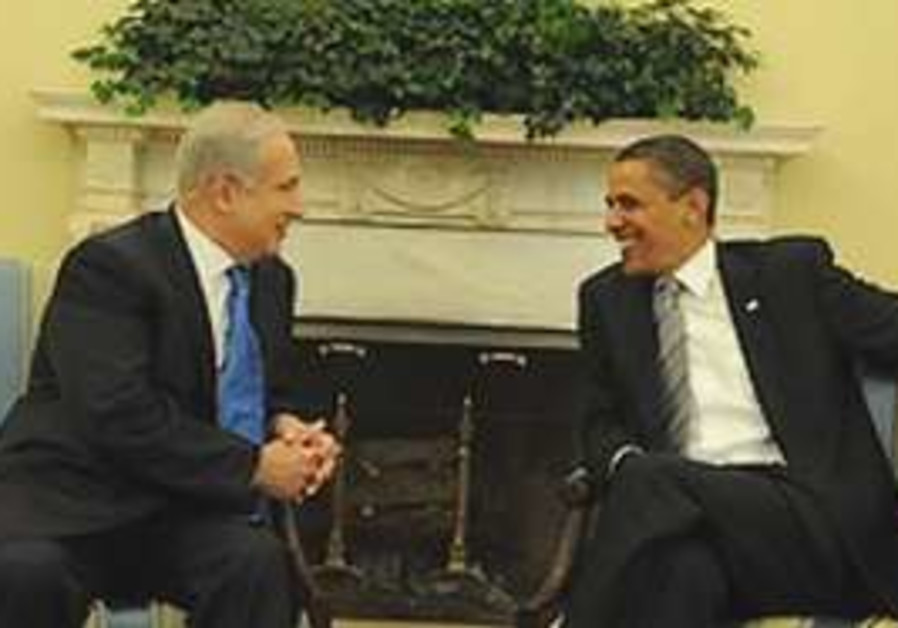 Netanyahu and Obama during their meeting in the Wh