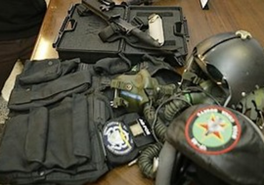 The table with some of the weapons seized during t
