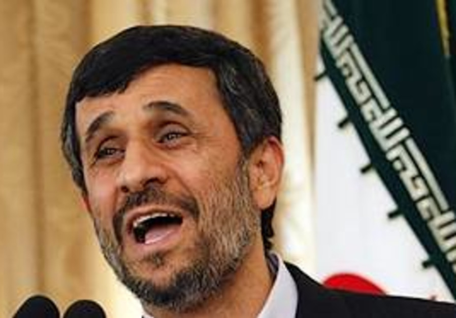 Iranian President Mahmoud Ahmadinejad speaks durin