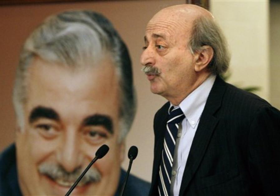 Druse leader Walid Jumblatt speaks during a press