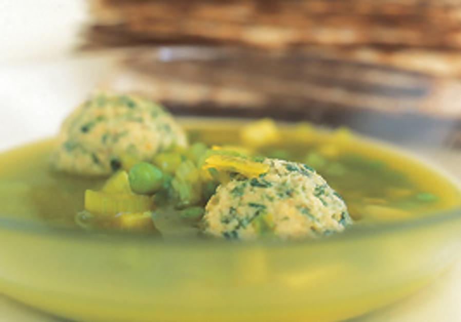 Green Pessah chicken soup with dumplings.