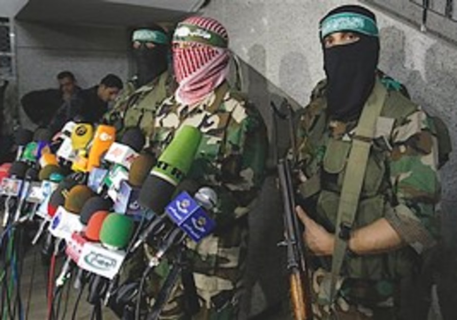 Hamas press conference in Gaza City.