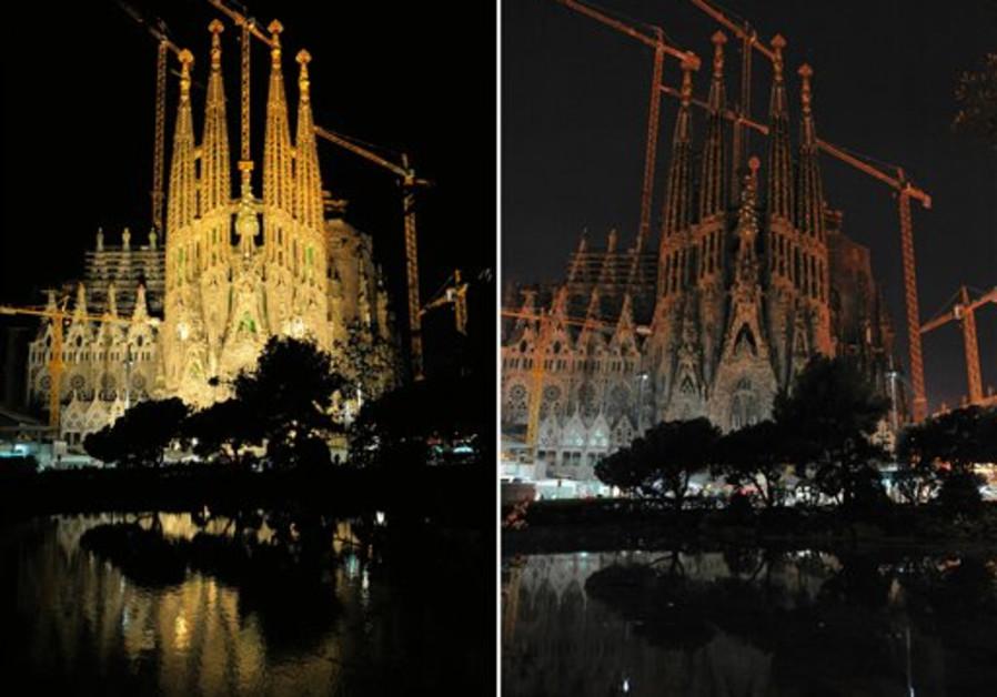 This combination photo shows Antoni Gaudi's La Sag