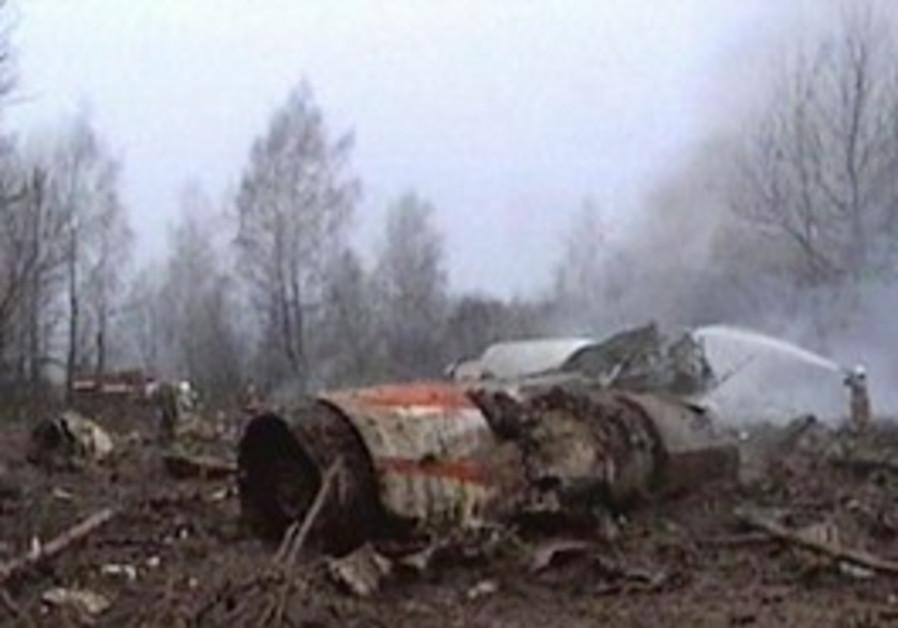 The crash site of the  plan carrying Polish Presid