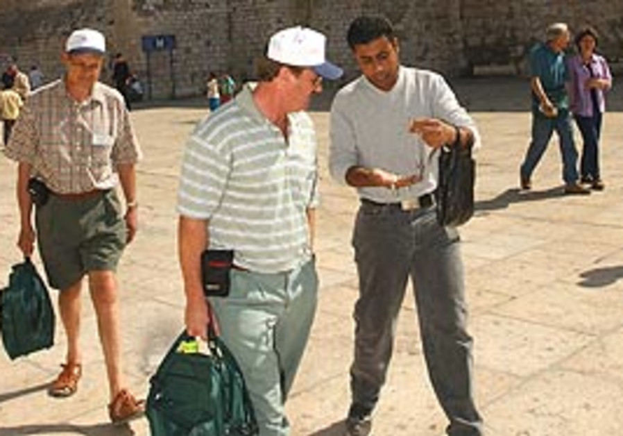 Tourists in Manger Square in Bethlehem.