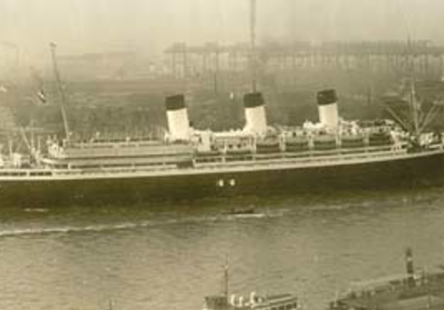 "The once-elegant liner, ""Cap Arcona."""
