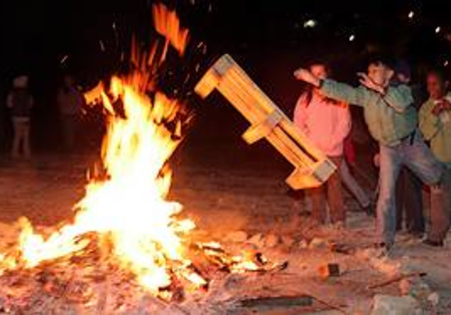 Children celebrate Lag Baomer on Saturday.