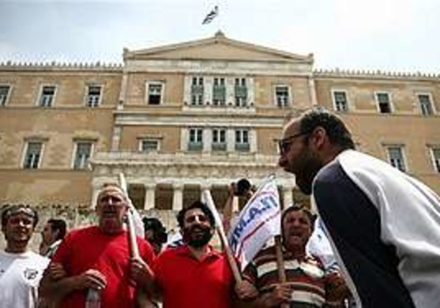 riots in front of Greek parliament