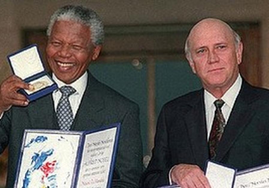 Then South African deputy president F.W. de Klerk