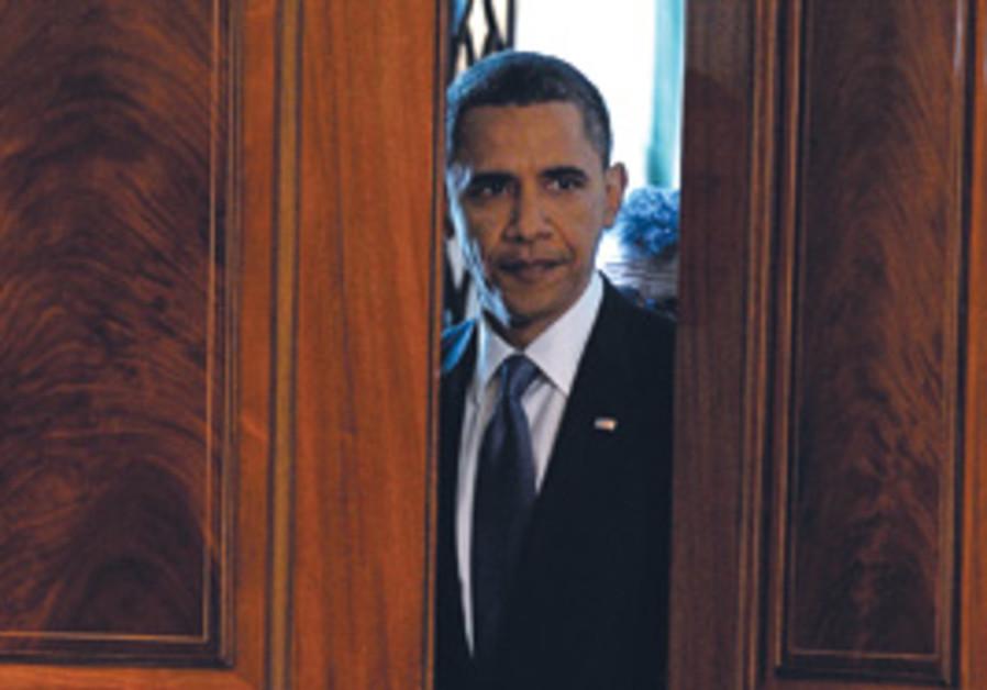 Obama peeking through doors