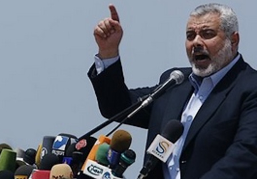 Gaza Hamas Prime Minister Ismail Haniyeh gives a s
