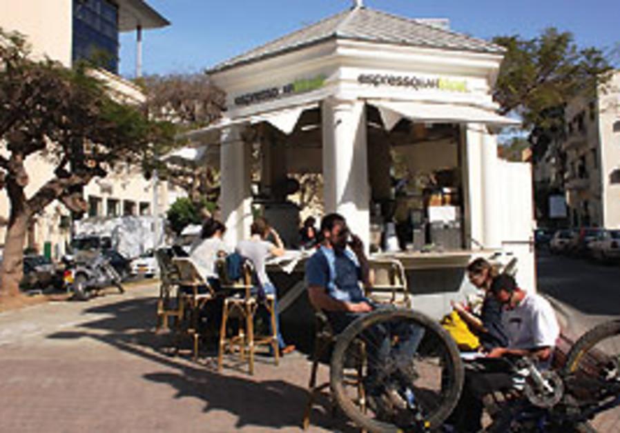 A popular espresso bar on the corner of Rehov Herz
