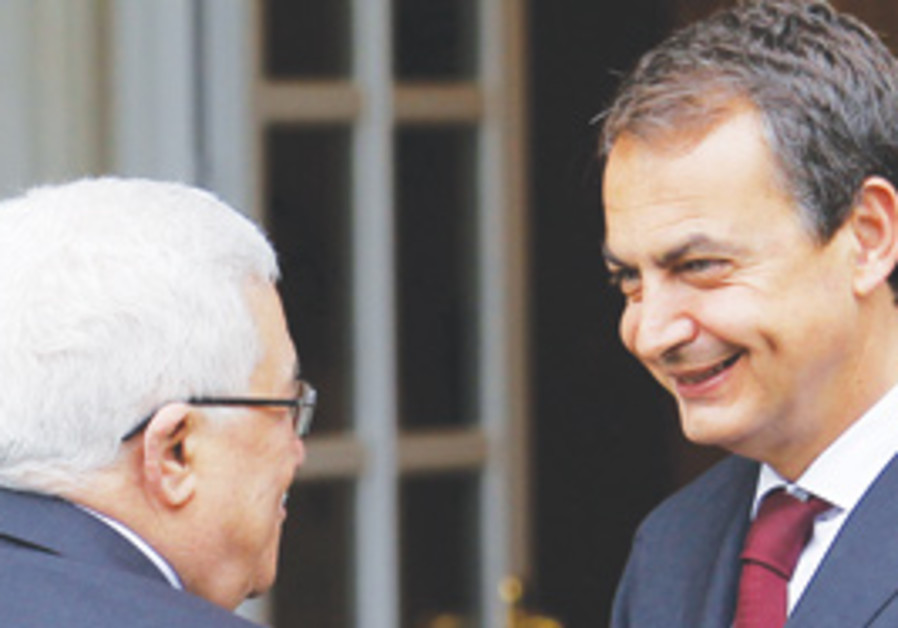 Luis Rodriguez Zapatero and Mahmoud Abbas