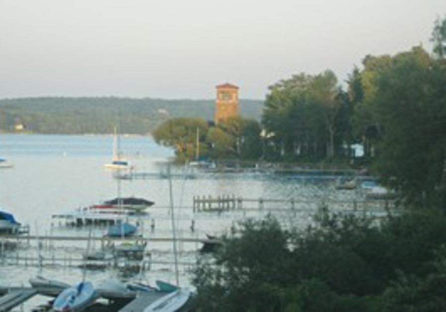 LAKE CHAUTAUQUA with Miller Bell Tower in the back