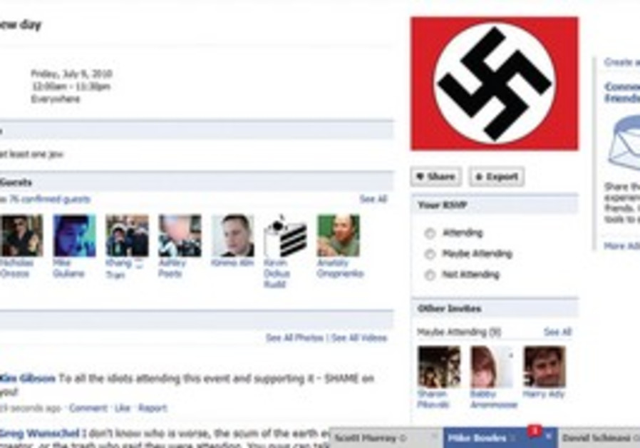 THE 'KILL A JEW' page. By Sunday afternoon, before