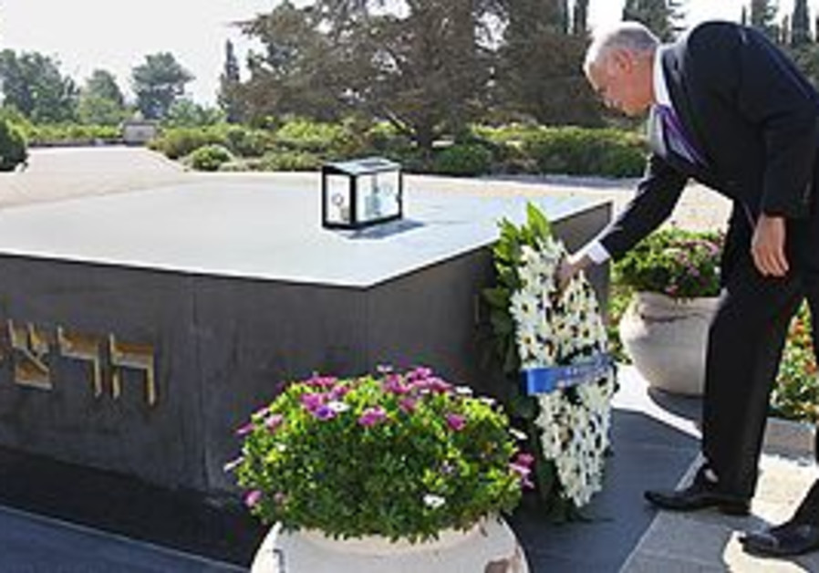 Greek PM George Papandreou  at Mount Herzl