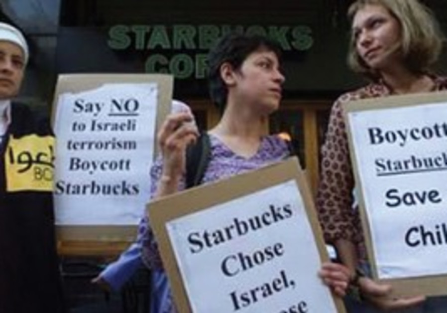 Dozens of foreign and Egyptian activists chanted anti-Israeli slogans and admonished Starbucks custo