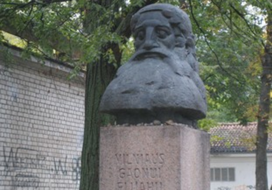 A STATUE of the famed Vilna Gaon, Rabbi Eliezar, on the street named for him.