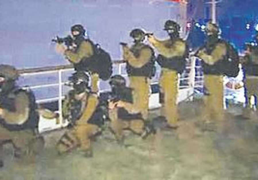 """FOOTAGE OF Israeli naval commandos in the BBC's """"Death on the Med"""" program"""