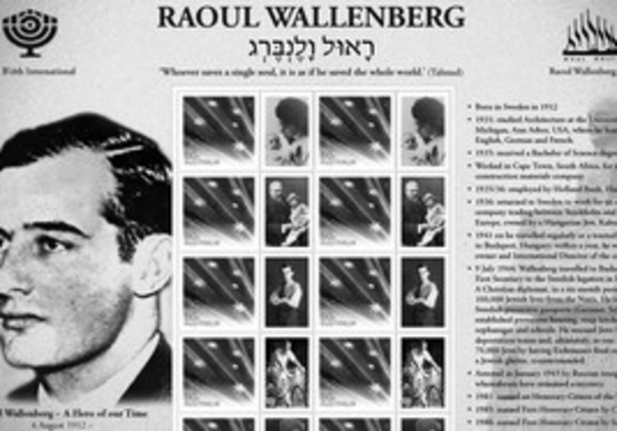 TRUE HERO. The Australian stamp sheet honoring Raoul Wallenberg and the Schutz-Pass shown on the bac